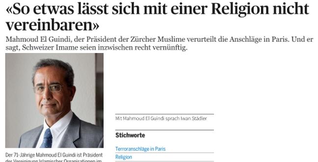 Tages Anzeiger vom 16. November 2015: «Gewalt ist ein menschliches Phänomen, kein religiöses»
