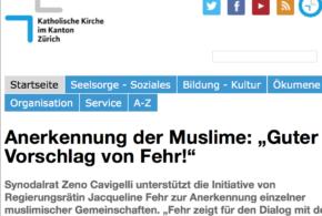 """zh.kath.ch vom 26. Juli 2016: «Anerkennung der Muslime: """"Guter Vorschlag von Fehr!""""»"""