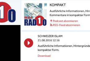 Radio1 vom 21. August 2016: «Schweizer Islam»