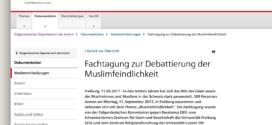 Eidgenössisches Departement des Innern vom 11. September 2017: «Fachtagung zur Debattierung der Muslimfeindlichkeit»