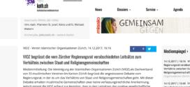 kath.ch vom 14. Dezember 2017: «VIOZ begrüsst die vom Zürcher Regierungsrat verabschiedeten Leitsätze zum Verhältnis zwischen Staat und Religionsgemeinschaften»
