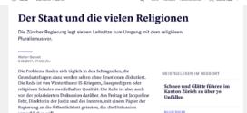 NZZ vom 9. Dezember 2017: «Der Staat und die vielen Religionen»