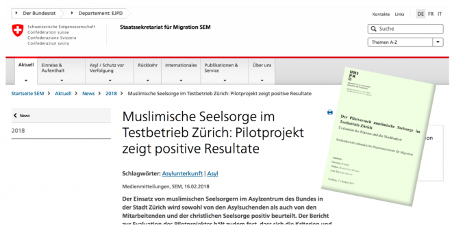 Schweizerische Eidgenossenschaft SEM vom 16. Februar 2018: «Muslimische Seelsorge im Testbetrieb Zürich: Pilotprojekt zeigt positive Resultate»